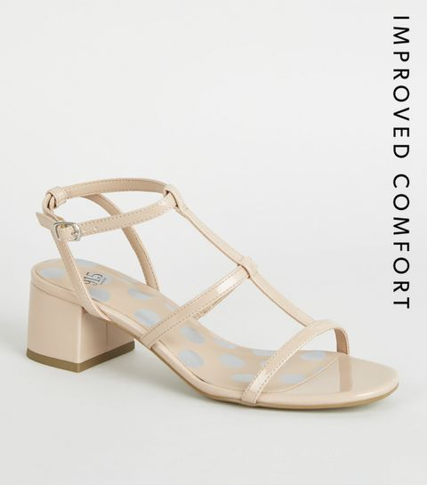 7ccca39a979 ... Girls Nude Patent Gladiator Block Heels ...