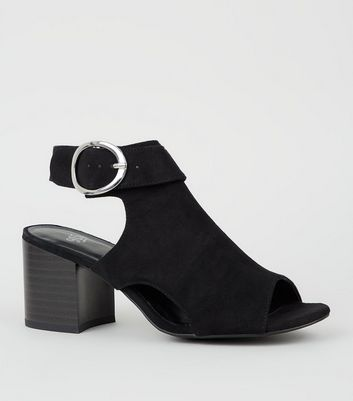 Girls Black Suedette Side Buckle Peep Toes