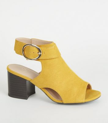 Girls Yellow Suedette Side Buckle Peep Toes