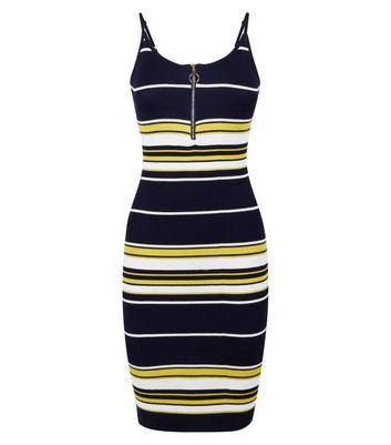 shop for Pink Vanilla Navy Stripe Ring Zip Dress New Look at Shopo