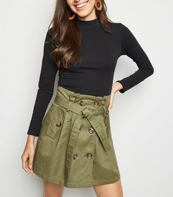 Pink Vanilla Olive Tie Waist Button Front Mini Skirt
