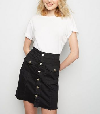 Pink Vanilla Black Button Front Denim Skirt