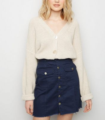 Pink Vanilla Navy Button Front Denim Skirt