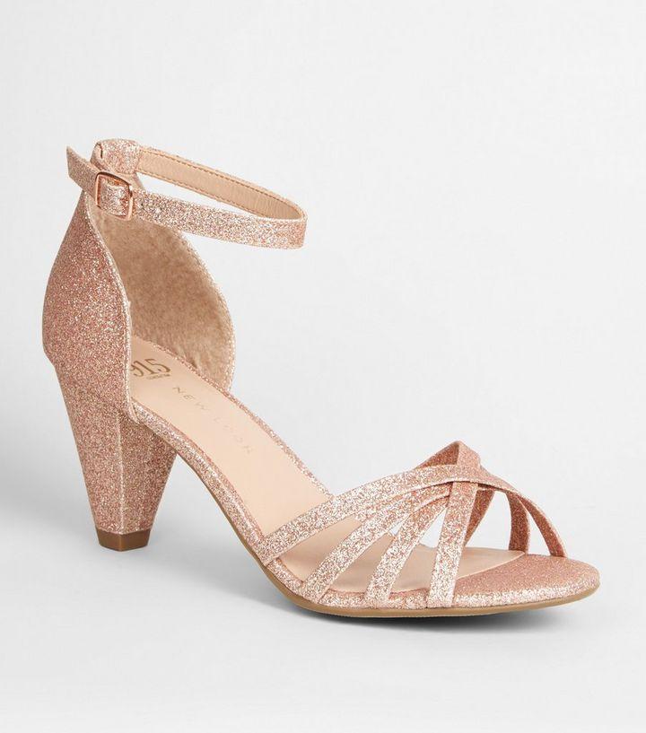 7282e2c17537 Girls Rose Gold Glitter Strappy Heels