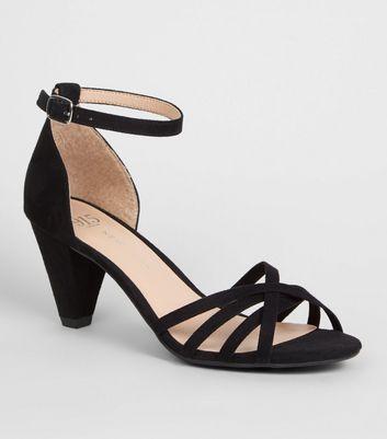 Girls Black Suedette Strappy Heels