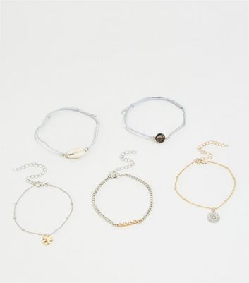 5 Pack Silver and Gold Friendship Bracelets