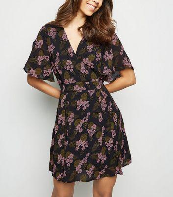 shop for Blue Vanilla Navy Tropical Floral Wrap Dress New Look at Shopo