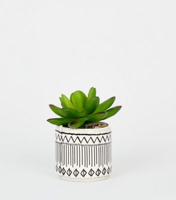 Black Tile Print Pot Faux Succulent