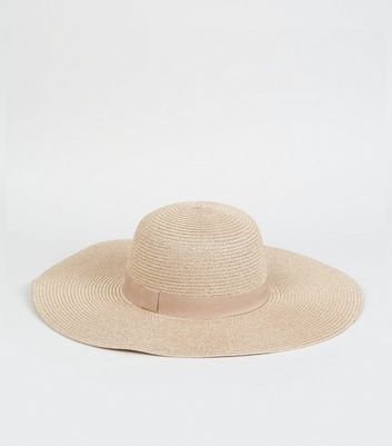 Rose Gold Woven Straw Effect Floppy Hat