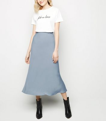 Grey Satin Bias Cut Midi Skirt