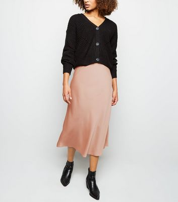Nude Satin Bias Cut Midi Skirt