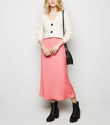 Pink Satin Bias Cut Midi Skirt