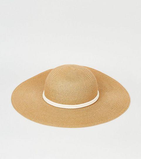 e795aba53b9 ... Tan Straw Effect Rope Ribbon Floppy Hat ...