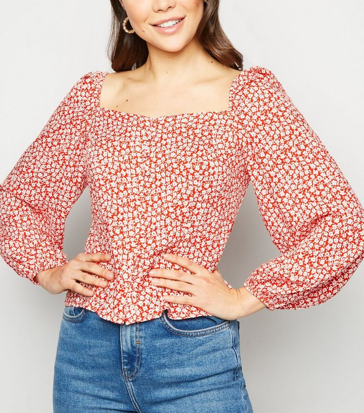 7d9f188fd5689 Red Ditsy Floral Square Neck Button Up Top