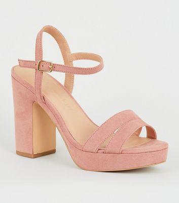 Wide Fit Pink Suedette 2 Part Platform