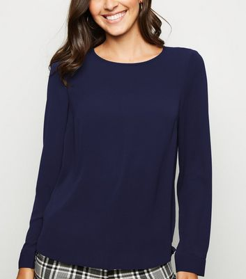 Navy Button Back Long Sleeve Shirt