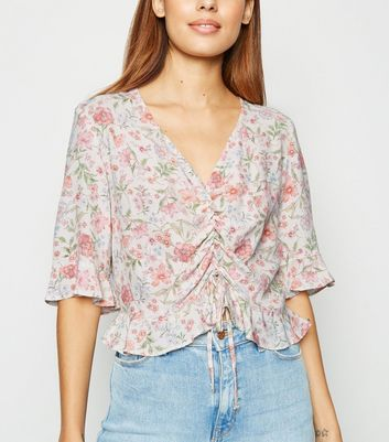 White Floral Ruched Frill Top