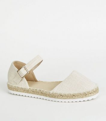 Girls Off White Raffia 2 Part Espadrilles