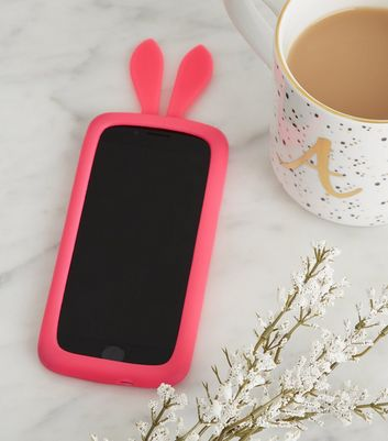 Pink Neon Bunny Silicone Phone Case
