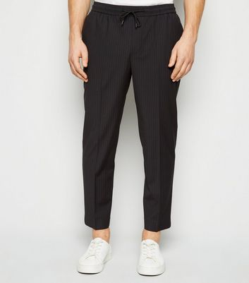 Black Pinstripe Slim Crop Trousers