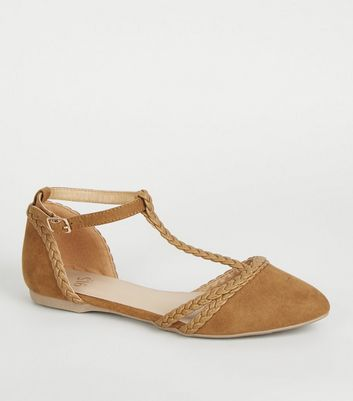 Girls Tan Plait Strap T-Bar Pumps
