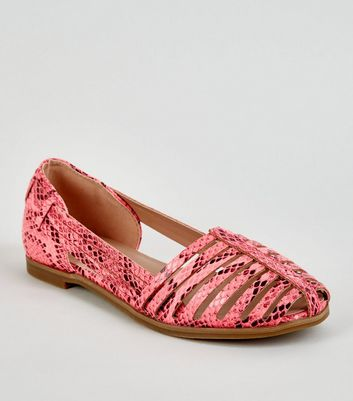 Girls Pink Neon Faux Snake Caged Pumps
