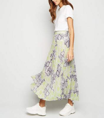 Yellow Neon Snake Print Pleated Midi Skirt