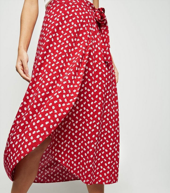 8c9a54a3cf Red Ditsy Floral Wrap Midi Skirt   New Look