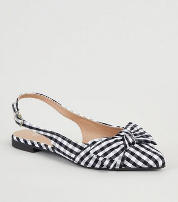Girls Black Gingham Bow Pointed Slingbacks