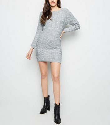 shop for Cameo Rose Grey Cable Knit Jumper Dress New Look at Shopo