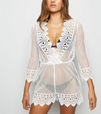 White Crochet Long Sleeve Playsuit