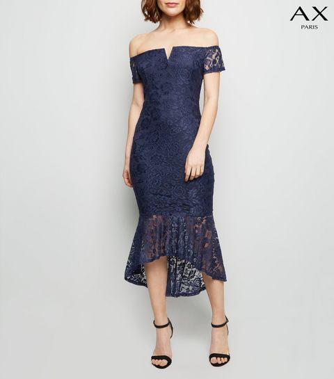 8fe99ae11684 ... AX Paris Navy Lace Dip Hem Bardot Bodycon Dress ...
