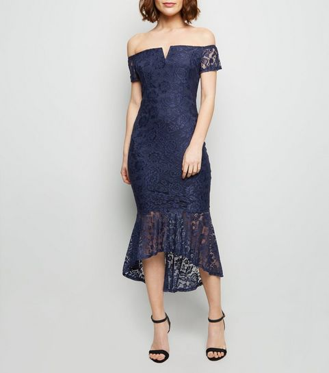 e2dc4f6cc4 ... AX Paris Navy Lace Dip Hem Bardot Bodycon Dress ...