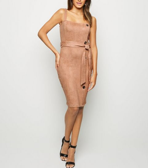 2514d3b4f9 ... AX Paris Camel Suedette Button Side Dress ...
