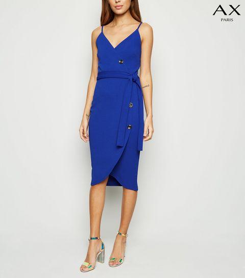 49fb3ce70e4a ... AX Paris Bright Blue Button Wrap Front Dress ...