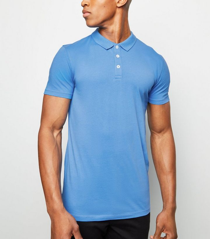 Bright Blue Muscle Fit Polo Shirt  38e919ae3