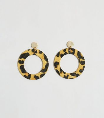 Mustard Leopard Print Disc Earrings