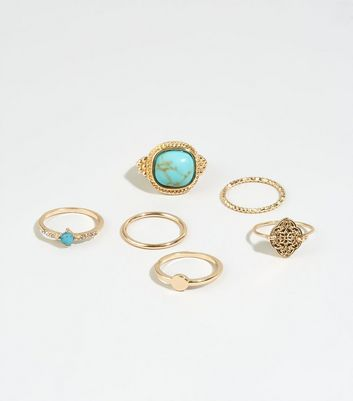 6 Pack Turquoise Stacking Rings