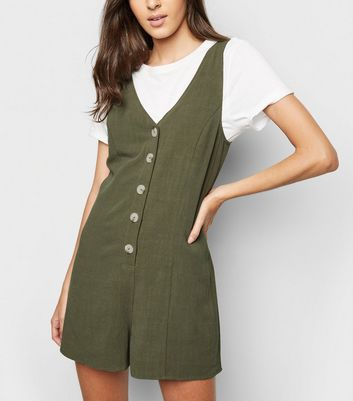 Khaki Linen-Look Button Up Romper Playsuit