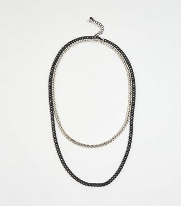 Silver Metal Layered Chain Necklace
