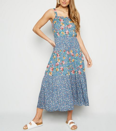 345b4b8cd8e ... Blue Mixed Floral Tiered Midi Dress ...