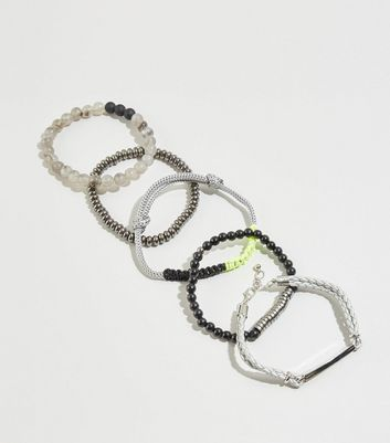 WANTED 5 Pack Silver Neon Bead Bracelets
