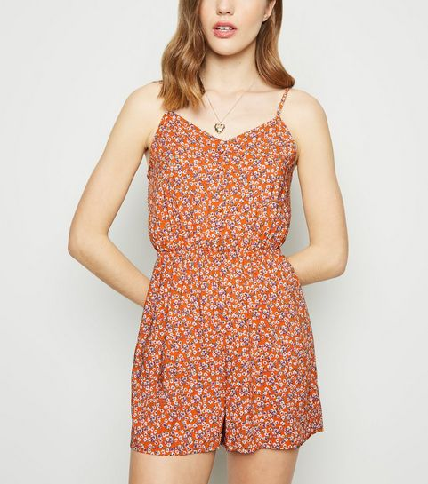 01d9b17019 ... Orange Ditsy Floral Button Front Playsuit ...