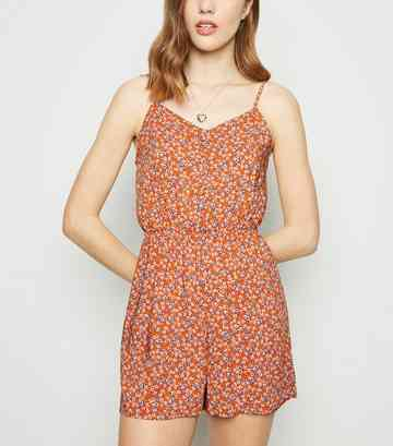 Orange Ditsy Floral Button Front Playsuit