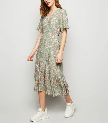 Green Floral Frill Hem Midi Dress