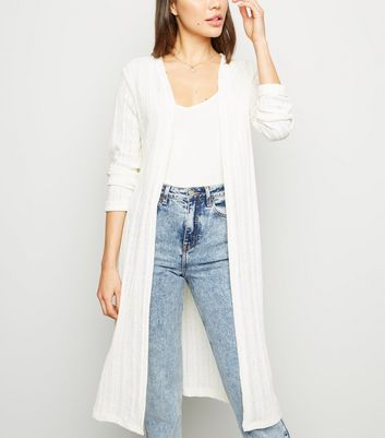 Off White Fine Knit Midi Cardigan