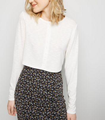 White Cropped Button Front Cardigan