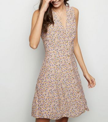 Pink Ditsy Floral Lattice Back Dress
