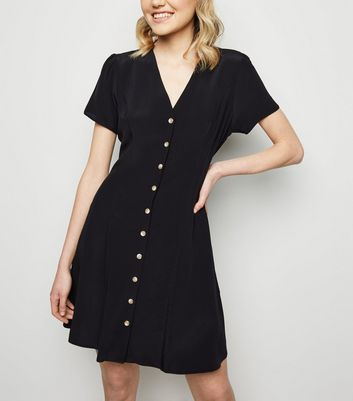 Black Button Up Tea Dress