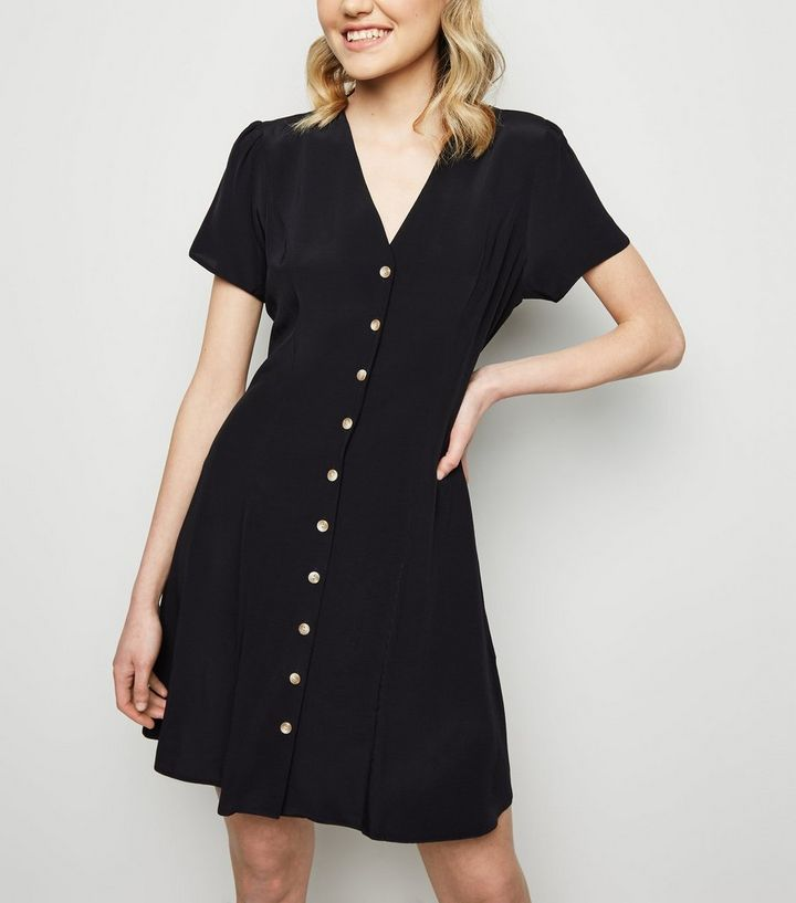 23f320be1e7 Black Button Up Tea Dress Add to Saved Items Remove from Saved Items